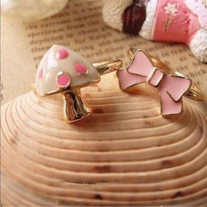 NEW Pink mushroom and bow ring set